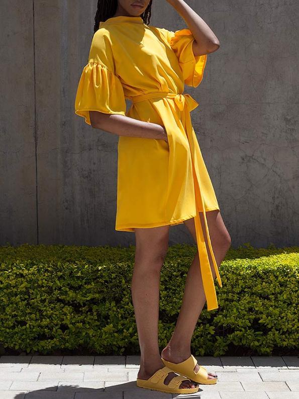 Erre Glide Easy-fit Dress Yellow Side Pocket