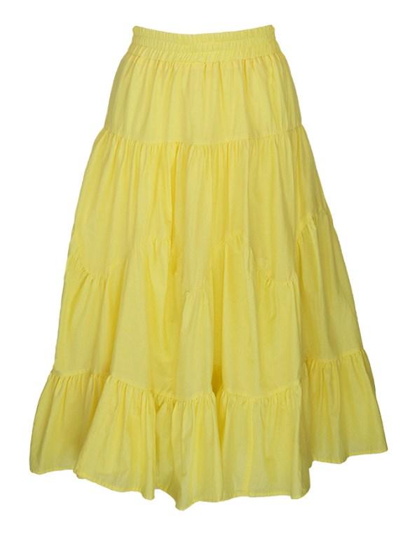 Smudj Ella Tiered Skirt Cotton Yellow