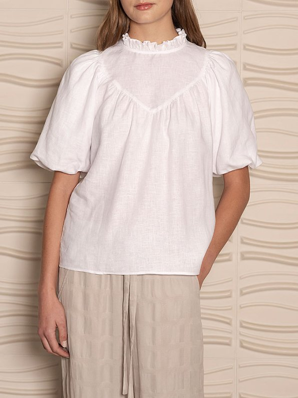 Smudj Jazzy-G Top White Linen Cropped