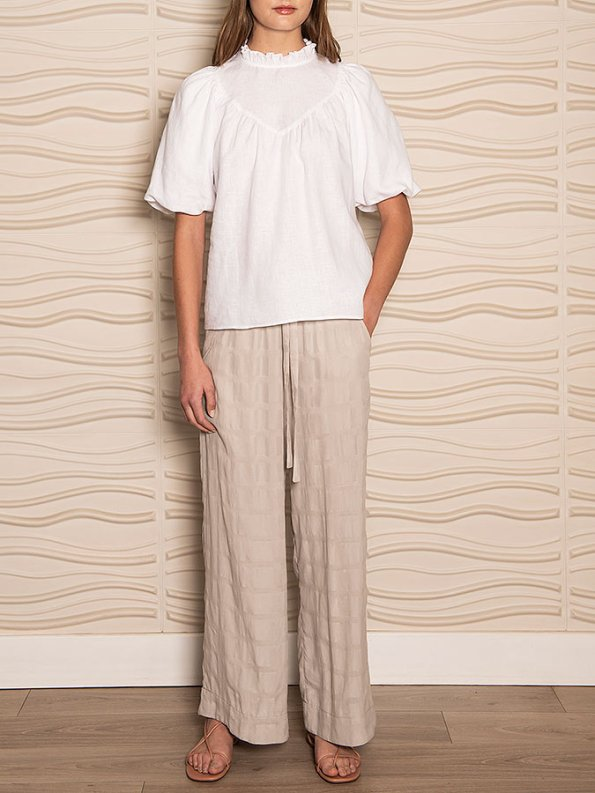 Smudj Jazzy-G Top White Linen Front
