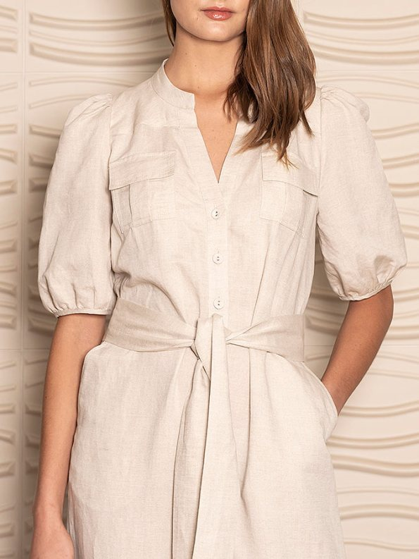 Smudj Resolute Utility Jumpsuit Stone Linen Cropped