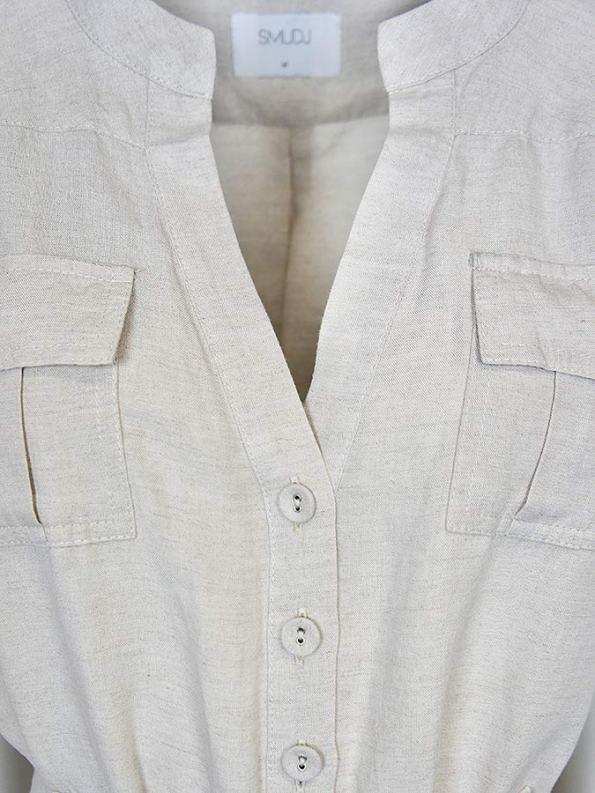 Smudj Resolute Utility Jumpsuit Stone Linen Pockets