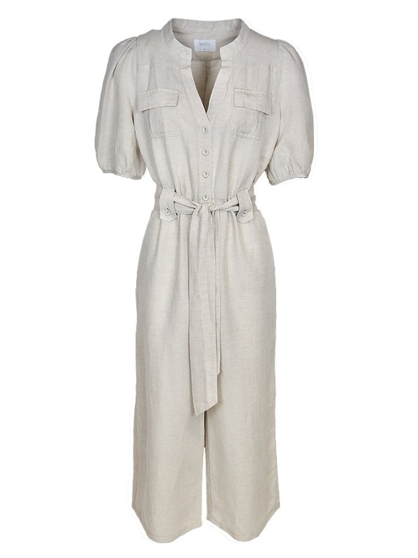 Smudj Resolute Utility Jumpsuit Stone Linen