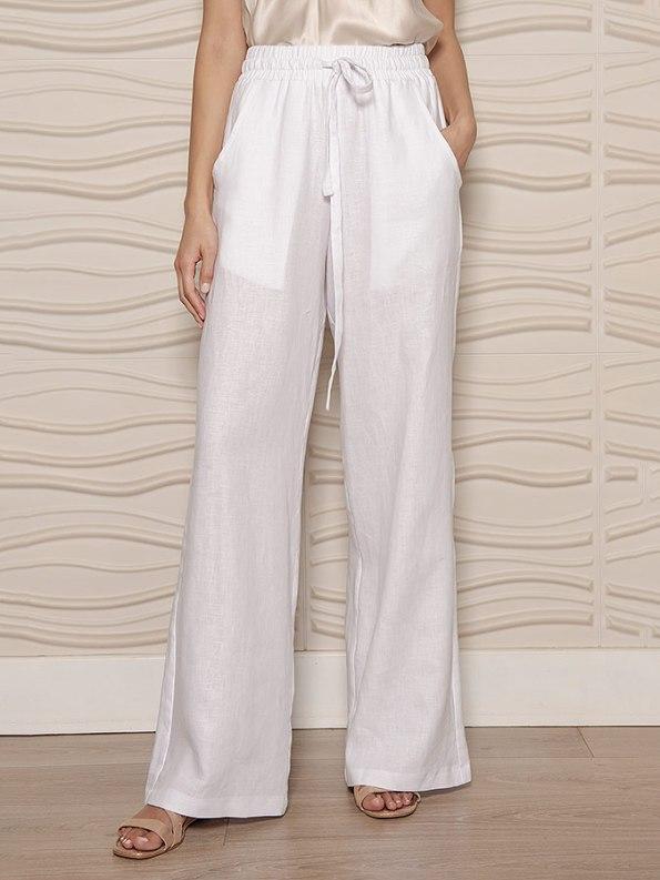 Smudj Seeking Silence Linen Track Pants White Cropped