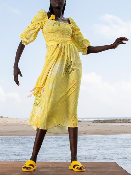 Yellow midi dress South Africa