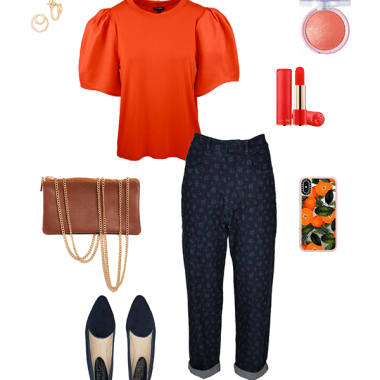 How to wear an orange top and jeans