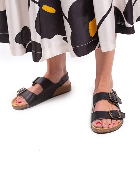 Glenda Slide Black Leather with Back Strap Model