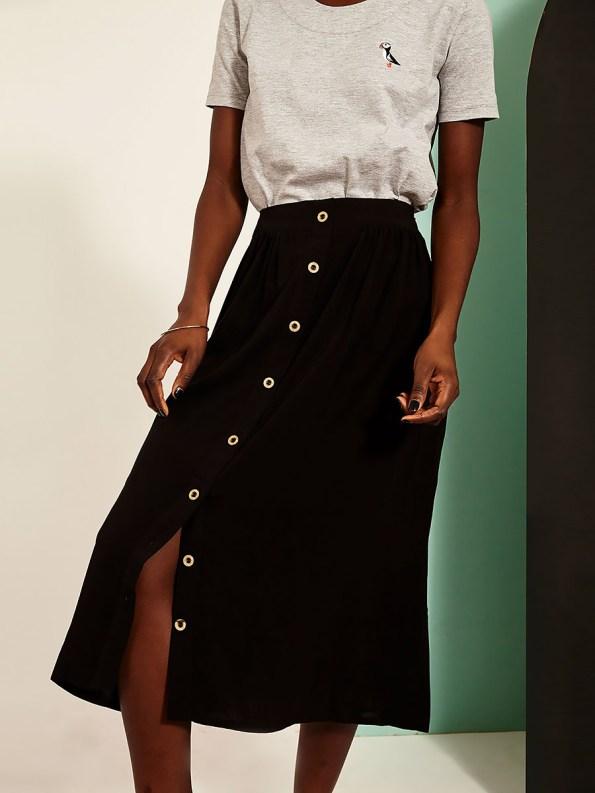 Good Button HW Skirt Black Front