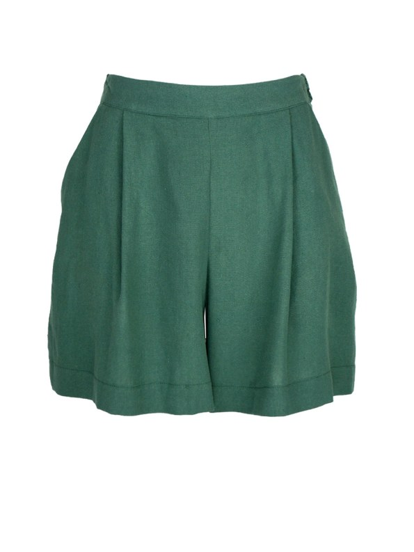 Good Gardening Shorts Green Linen Blend