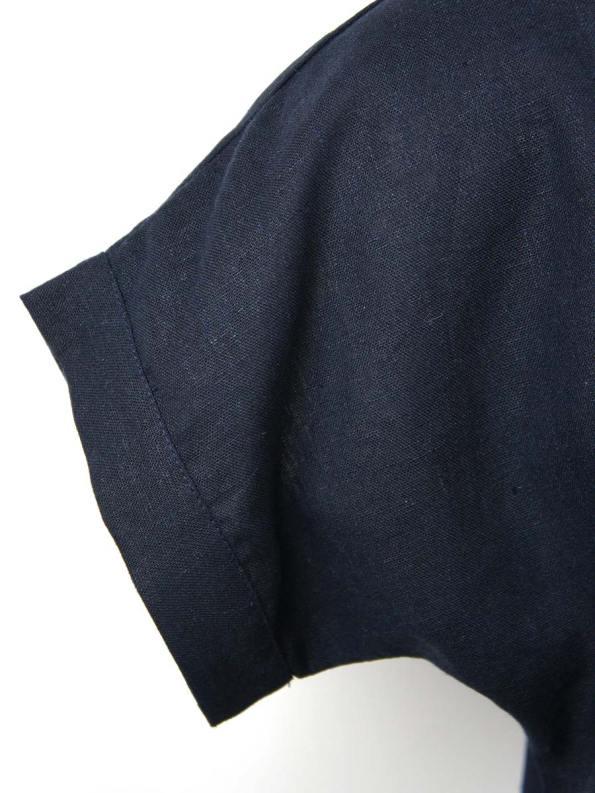 Good Marble Top Navy Linen Closeup