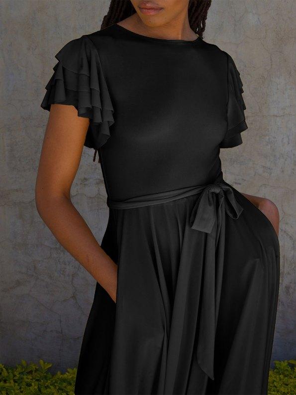 Erre Flutter Dress Black Cropped