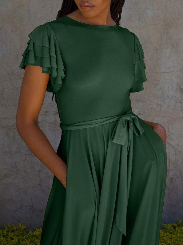 Erre Flutter Dress Emerald Green Cropped