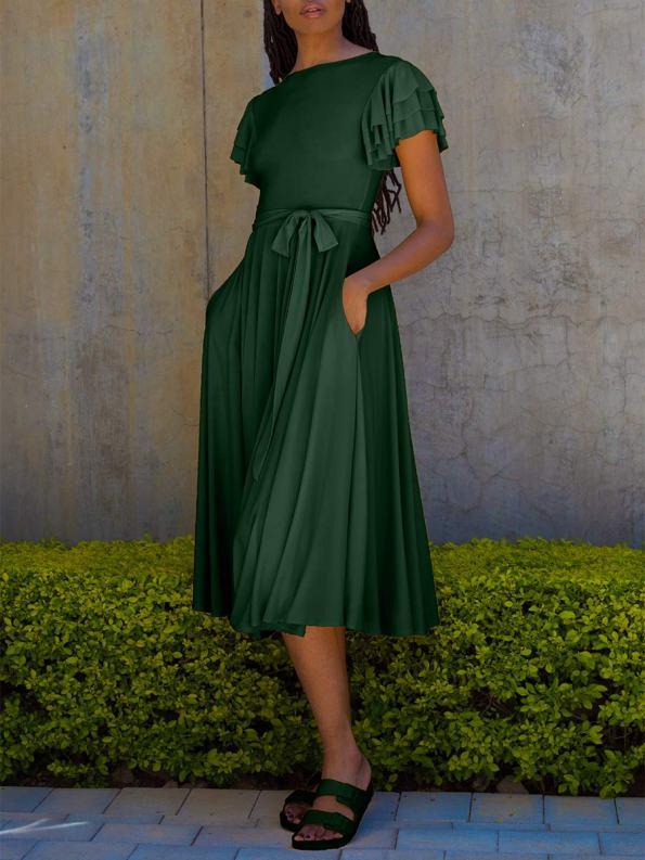 Erre Flutter Dress Emerald Green Front_