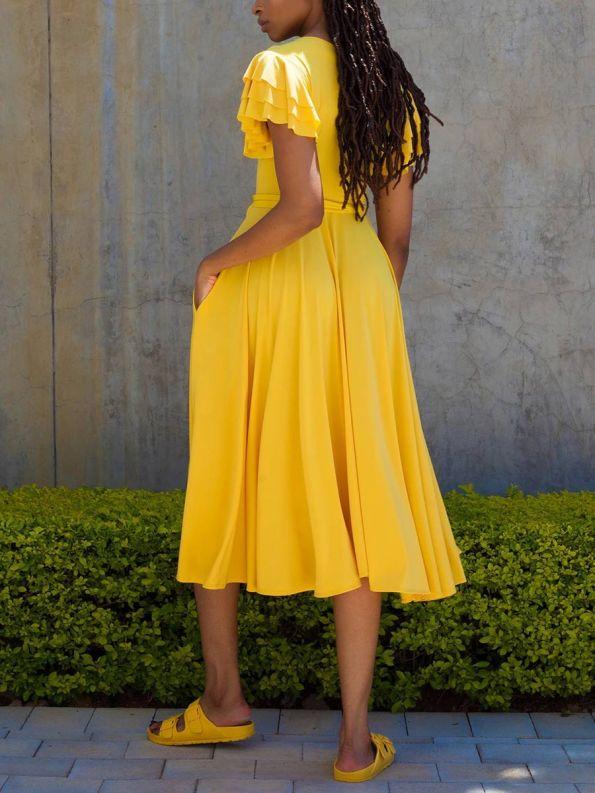 Erre Flutter Dress Yellow Back