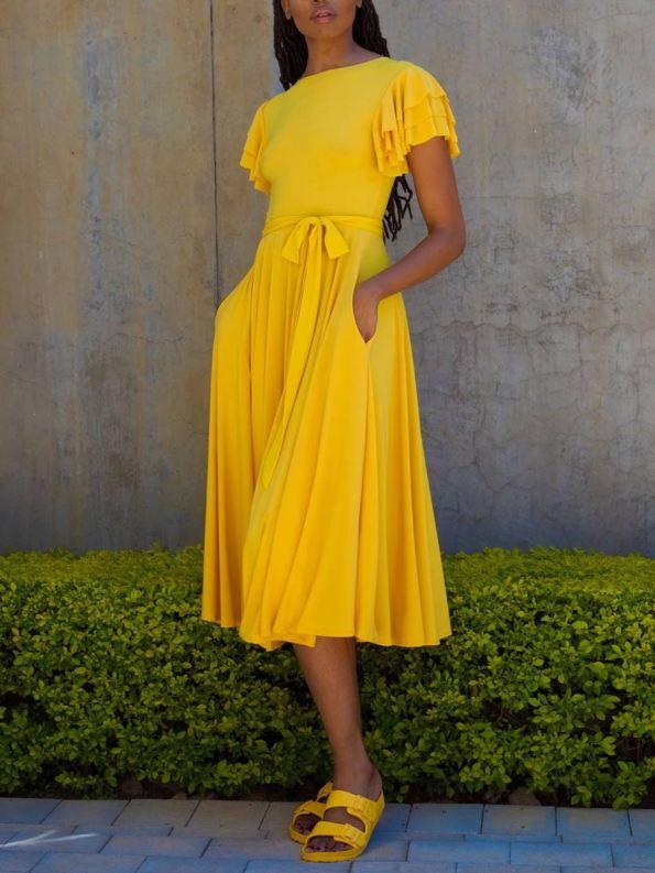 Erre Flutter Dress Yellow Front