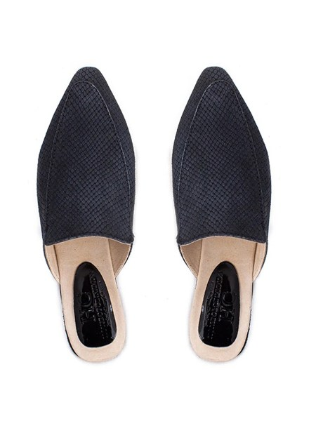 Black leather mules snake print South Africa