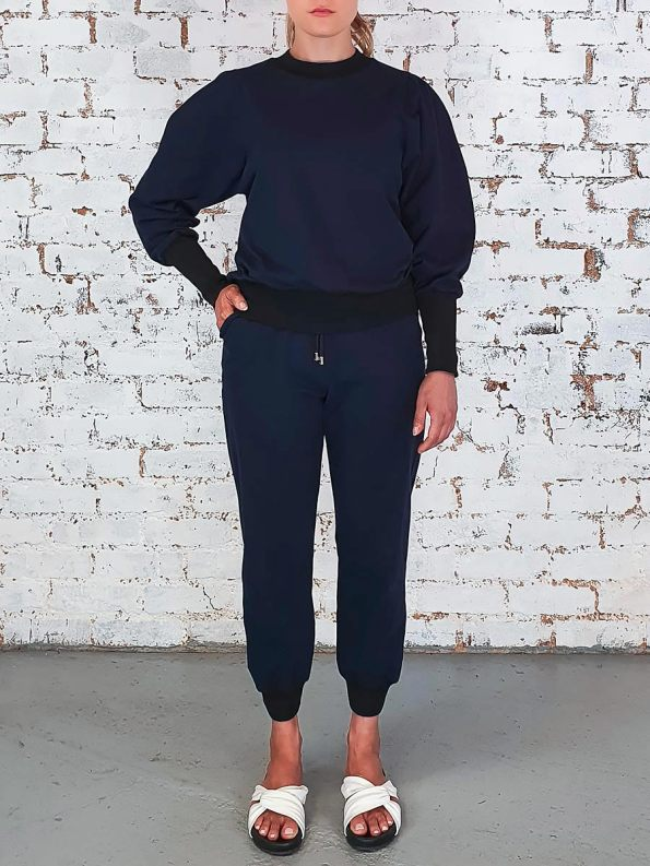 JMVB Athleisure Puff Sleeve Tracksuit Navy Front