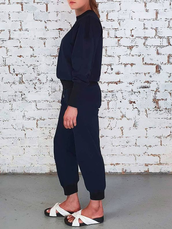 JMVB Athleisure Puff Sleeve Tracksuit Navy Side