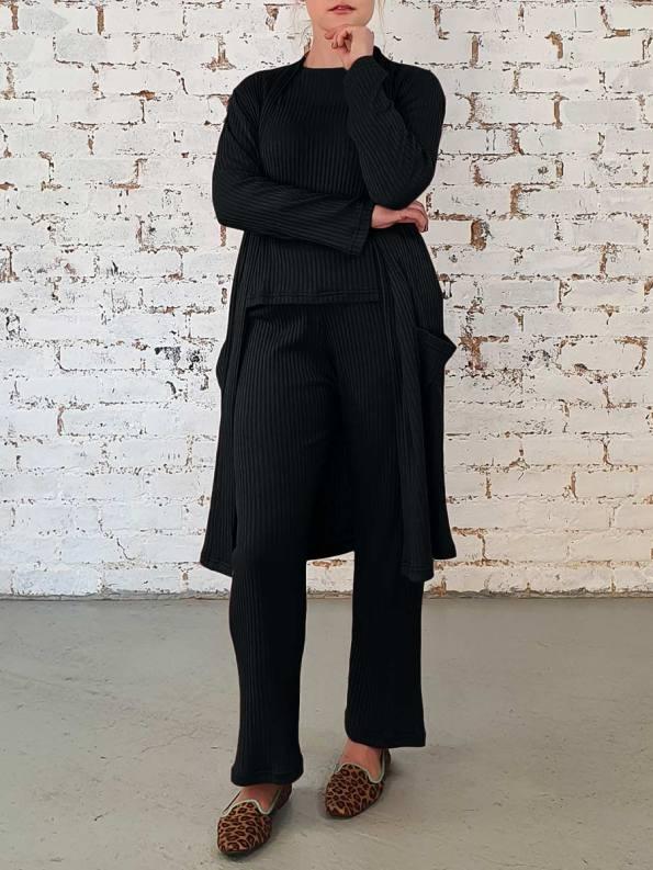 JMVB Loungewear Long Cardigan Black 2 _darker