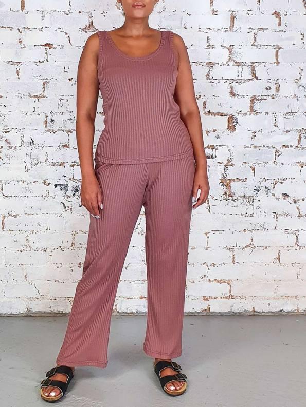 JMVB Lux Loungewear Cognac Tank and Pants_