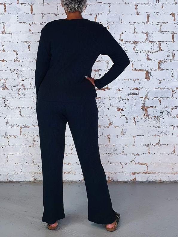 JMVB Lux Loungewear Pants and LS Top Black Back