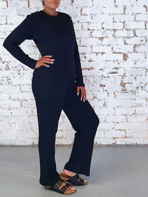 JMVB Lux Loungewear Pants and LS Top Black Side