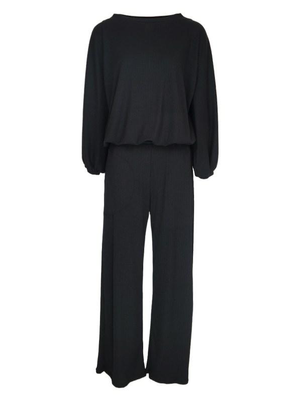 IDV Balloon Sleeve Knit Set Black
