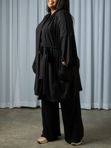 Long black cardigan with bow detail South Africa
