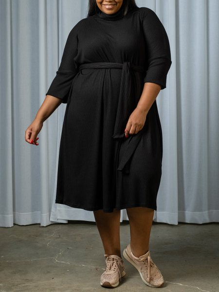 black plus size polo neck dress