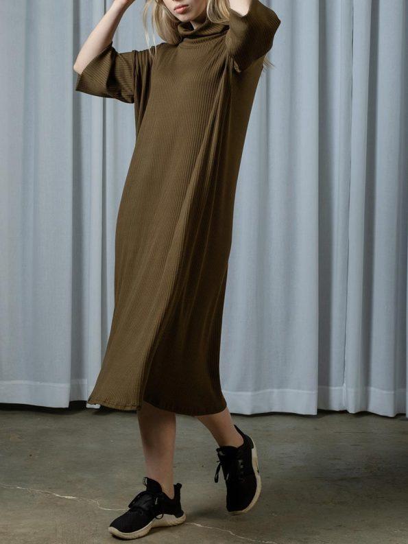 IDV Knit Polo Dress Olive 1