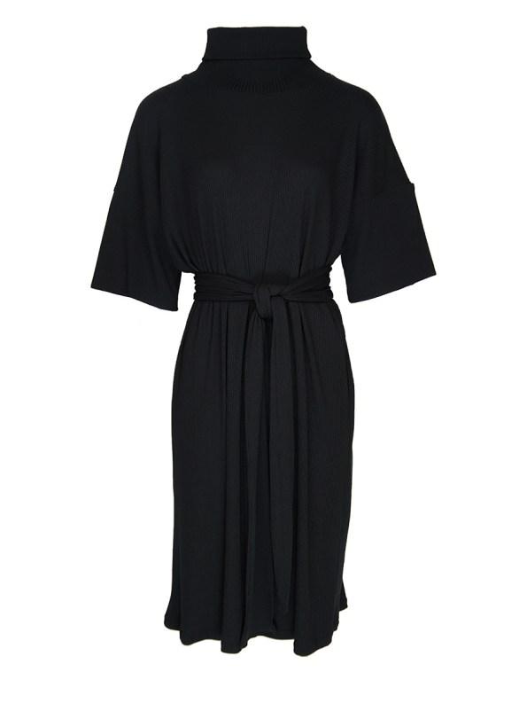 IDV Knit Polo Midi Dress Black