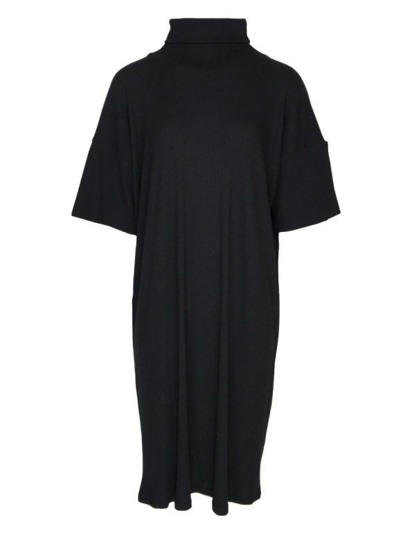 IDV Knit Polo Midi Dress Black (no belt)