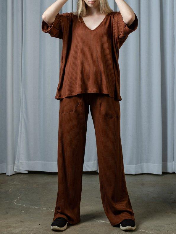 IDV V Neck Knit Set Copper Front