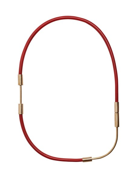 long necklace made from red rubber and brass South Africa