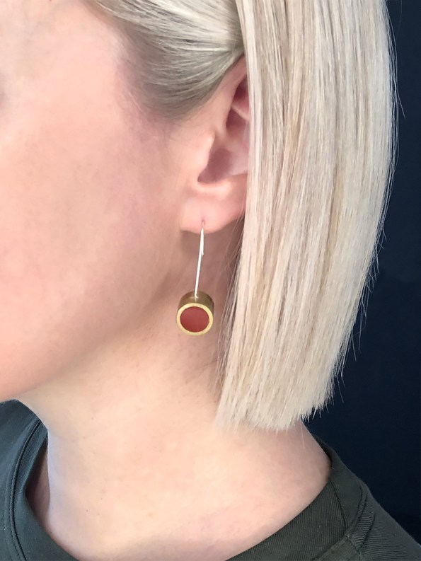 Iloni Hanging Earring Red on Model 2