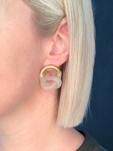 brass and rubber knotted earrings South Africa