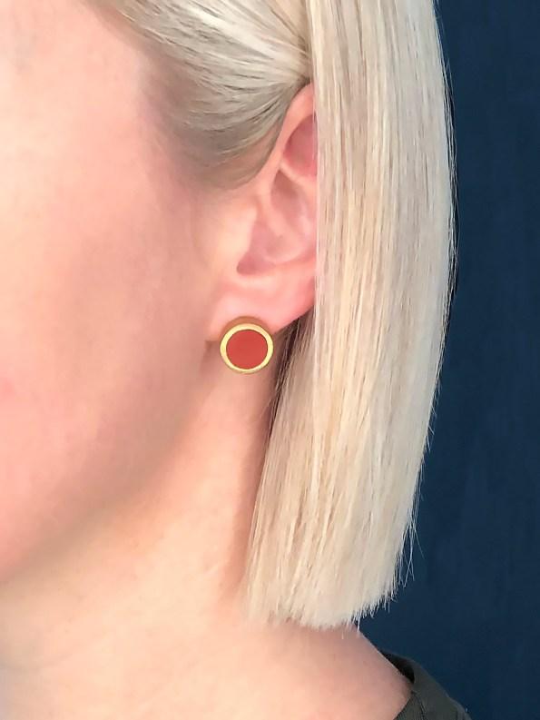 Iloni Stud Earrings Red on Model