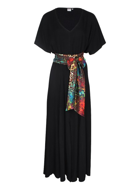 Black Maxi Dress with leopard print sash South Africa