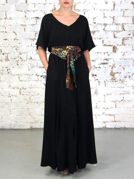 Long black dress with leopard print belt South Africa