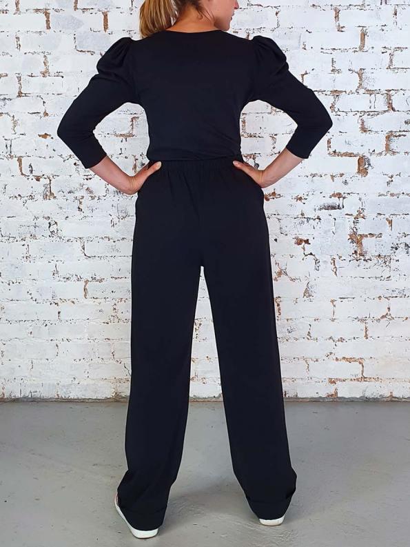 JMVB Puff Sleeve Stretch Top Black Back