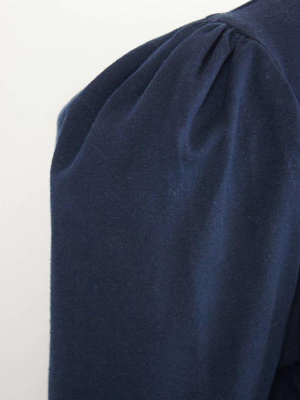 JMVB Puff Sleeve Stretch Top Navy Fabric