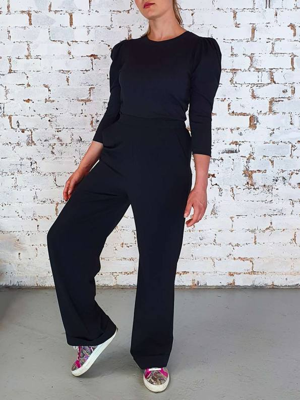 JMVB Straight Leg Pants Black with Puff Sleeve Top Black_