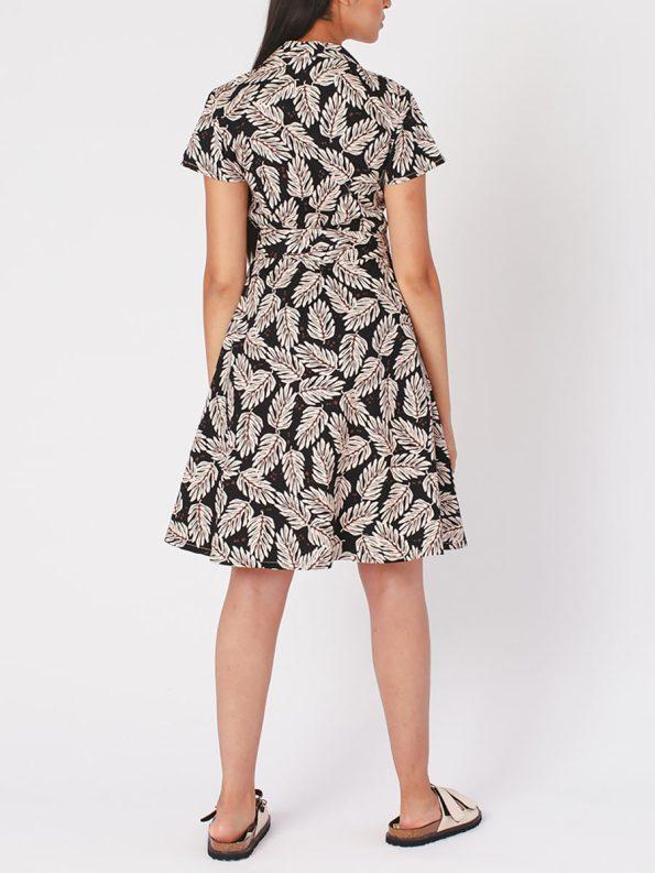 Mareth Colleen Henry Dress Leaf Print Back Full