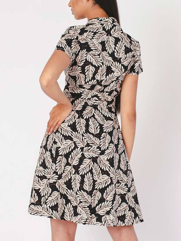 Mareth Colleen Henry Dress Leaf Print Back