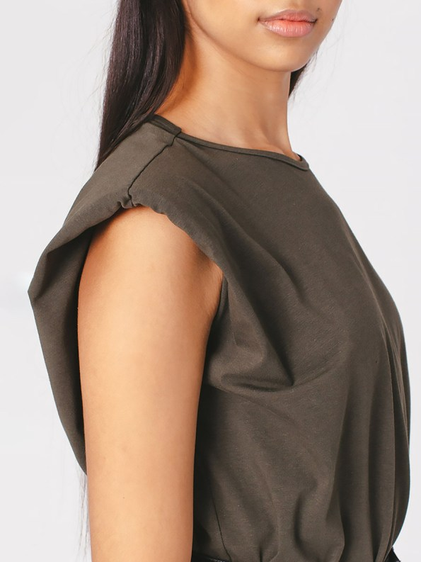 Mareth Colleen Shoulder Pad T-Shirt Olive Green Sleeve
