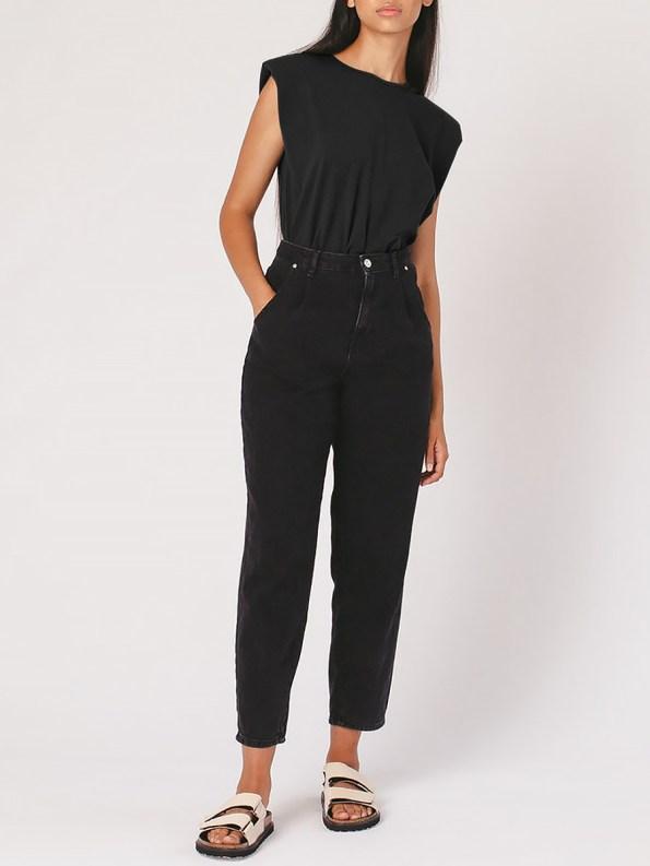 Mareth Colleen Shoulder Pad T-shirt Black Full