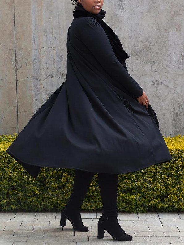 Erre Velvet Waterfall Coat Black 2
