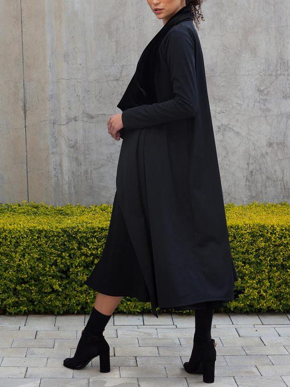 Erre Velvet Waterfall Coat Black 4
