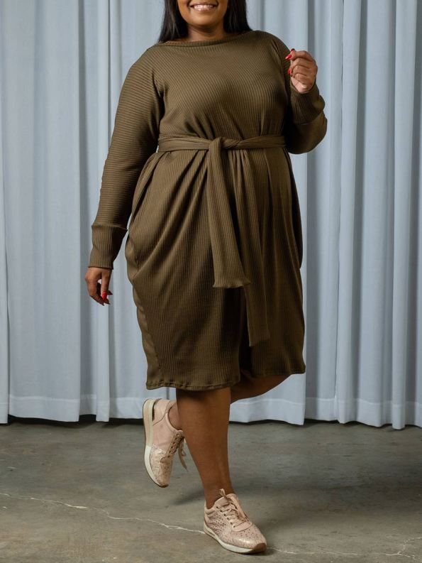 IDV Knit Cocoon Dress Olive 3
