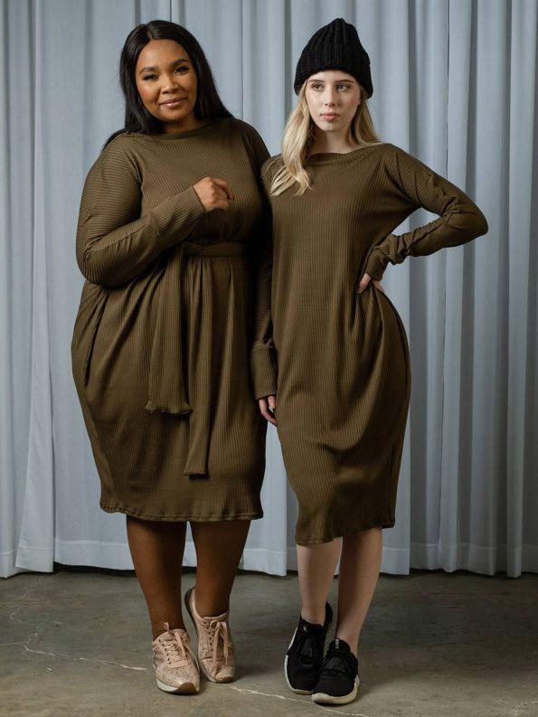 IDV Knit Cocoon Dress Olive